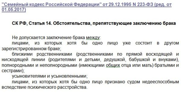 ст.14 СК РФ