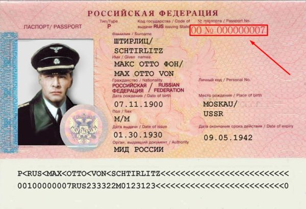 Серия и номер загранпаспорта