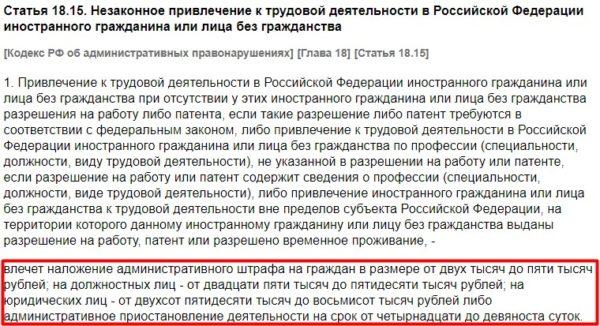 Статья 18.15 КоАП РФ