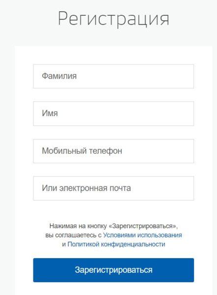 Окно регистрации на Госуслугах